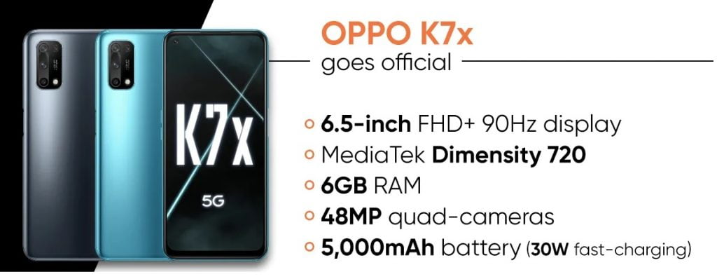 Oppo K7x announced with 90Hz screen and Dimensity 720
