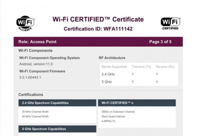 Samsung Galaxy M42 Wi-Fi Alliance listing